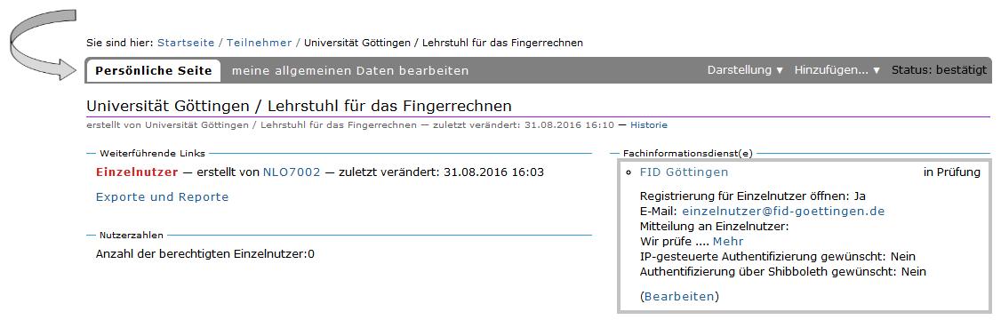 Registrierung von Datdaten-Seiten